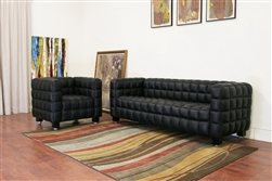 Arriga Black Leather Modern Sofa and Chair 2-piece Set by Baxton Studio - BAX-0717-Black