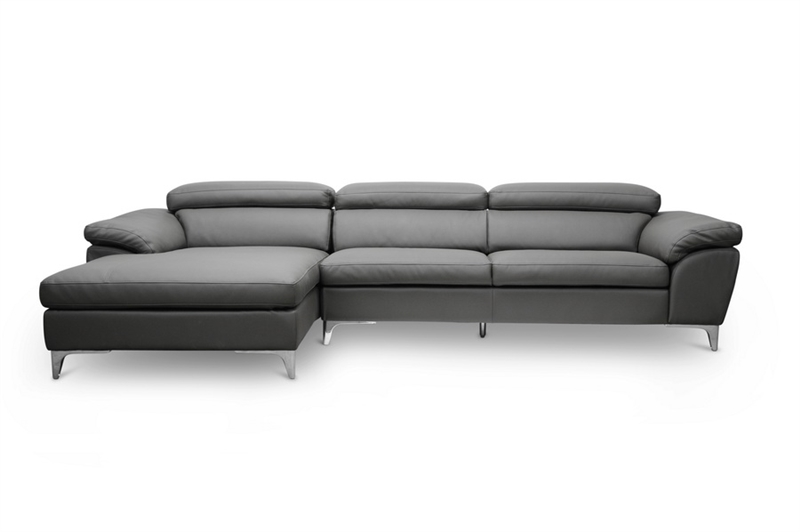 Voight Gray Modern Sectional Sofa with Chaise by Baxton Studio ...