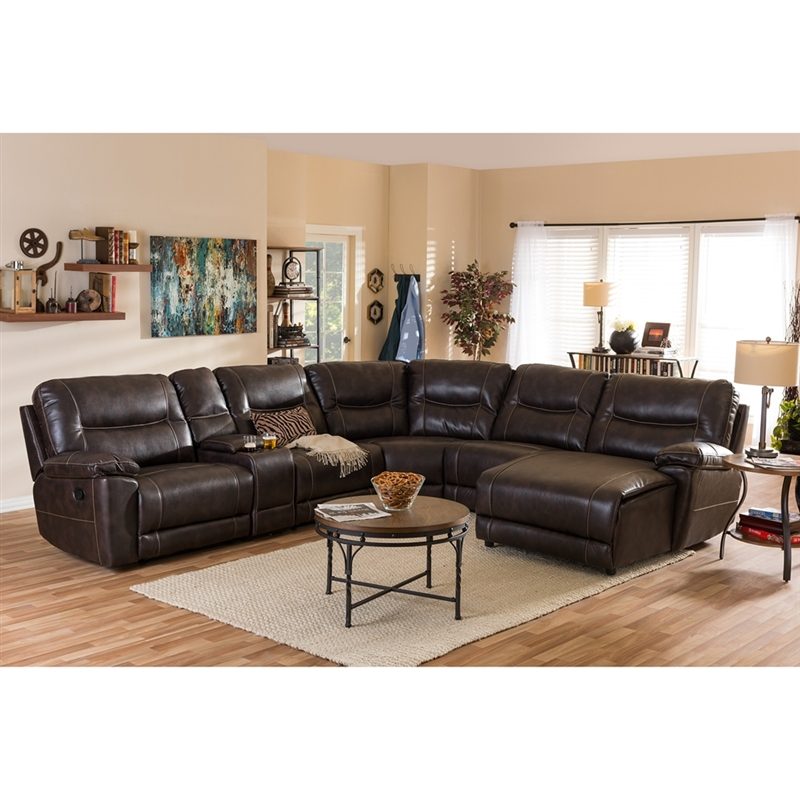 Contemparty Dark Brown Bonded Leather 6-Piece Sectional Sofa by Baxton  Studio - BAX-99170