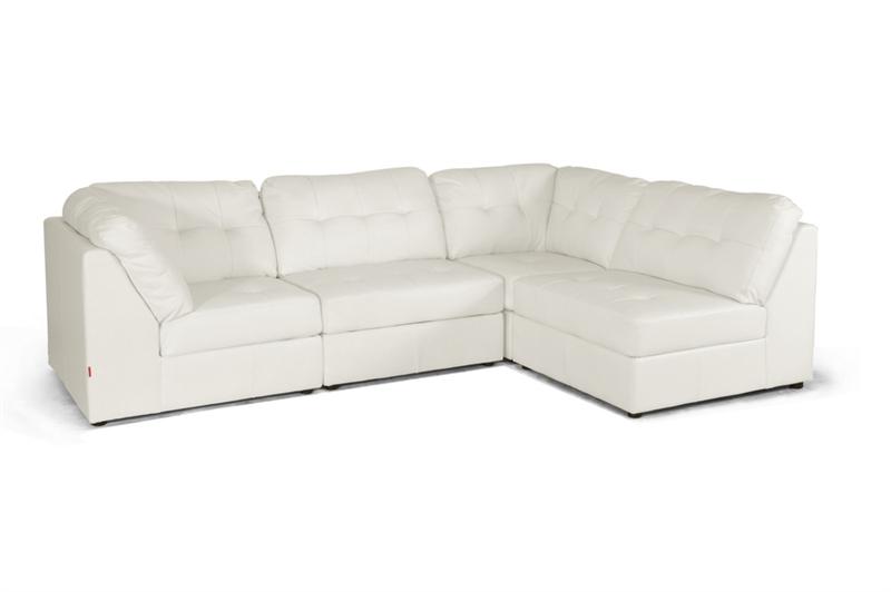 Warren White Leather Modern Modular Sectional Sofa Set By Baxton Studio    BAX IDS020LT LTB07