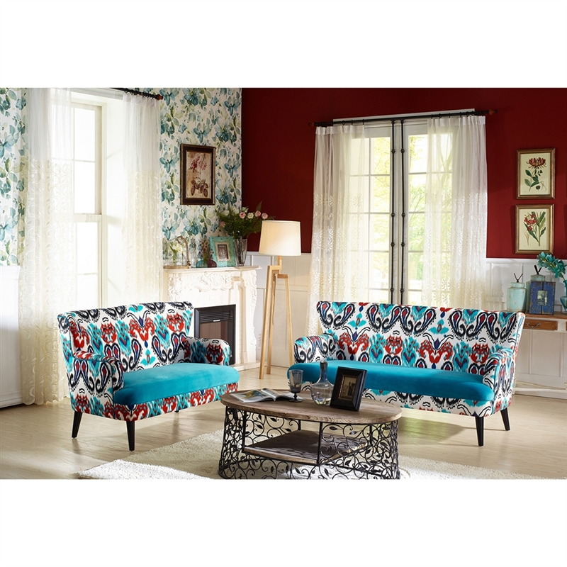Surprising Lacey Paisley Ikat Sofa And Loveseat Set With Blue Velvet Seat By Baxton Studio Bax Tsf 8126 Gmtry Best Dining Table And Chair Ideas Images Gmtryco