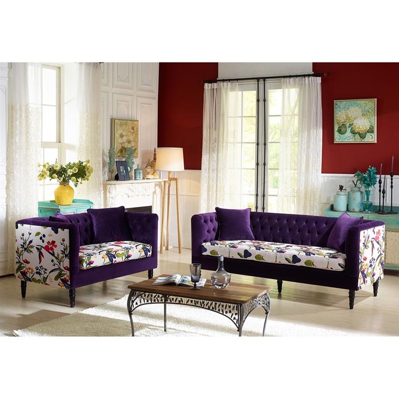 Purple Velvet And Beige Linen Fl