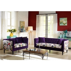 Freya Purple Velvet and Beige Linen Floral 2 Pieces Living Room Set by Baxton Studio - BAX-TSF-8127-Purple