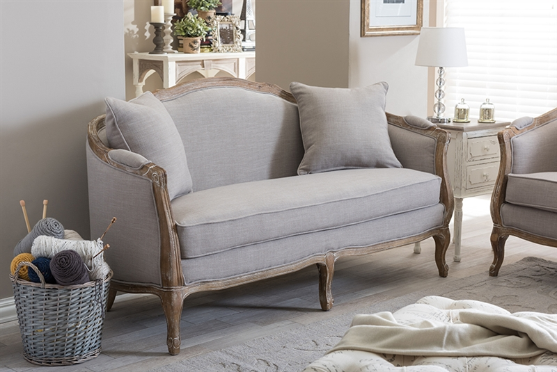Chantal French Country Beige Linen Upholstered 2-piece Living Room Set by  Baxton Studio - BAX-TSF-8130-Beige
