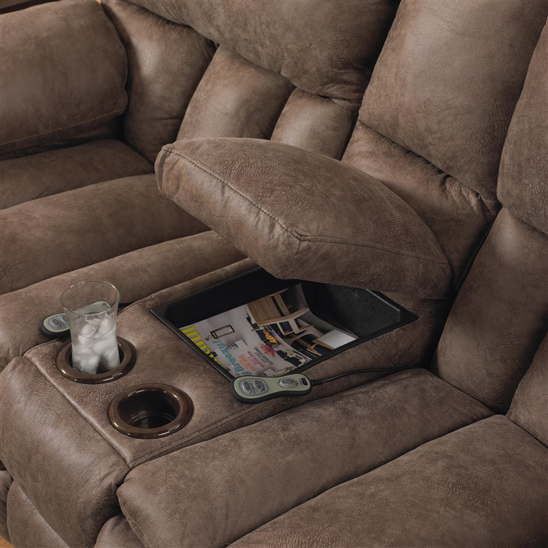 Madden Reclining Console Loveseat With Heat And Massage By Catnapper