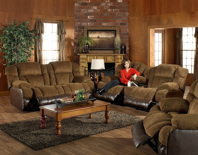 PC Avenger Two Tone Tobacco Coffee Reclining Sofa Set by Catnapper