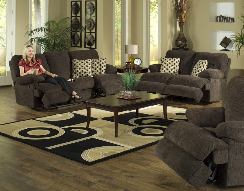 Newport 2 PC Reclining Sofa Set In Chocolate Chenille By Catnapper   Manual  Recline