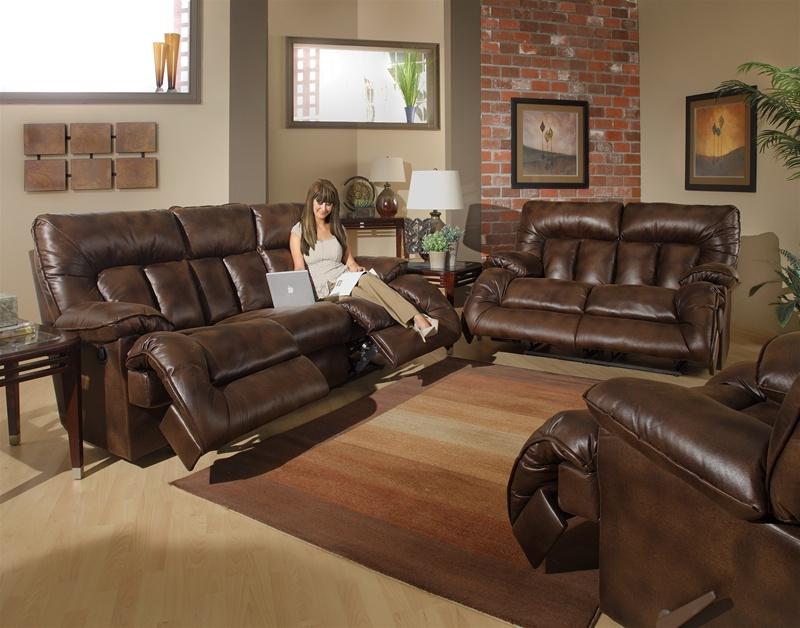 Remington 2 Piece Reclining Sofa Set in Espresso Fabric by