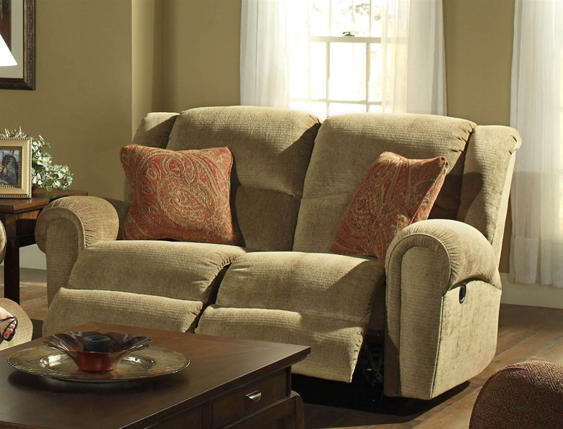 Grove Park Rocking Reclining Love Seat In Havana Fabric By