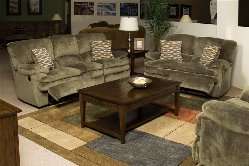 Easton 2 Piece Reclining Sofa Amp Loveseat Set In Sage