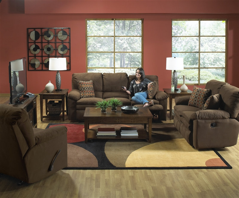 Impulse 2 Piece Reclining Sofa Set In Chocolate Color Fabric By Catnapper    1241 SET G