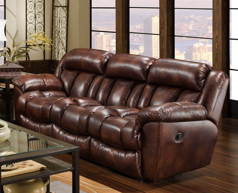 Eclipse Reclining Sofa in Cognac Leather-Like Fabric Upholstery by  Catnapper - 1281
