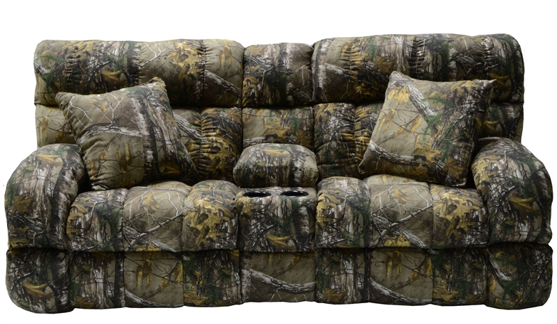 Appalachian Lay Flat Reclining Console Loveseat In Mossy Oak Or Realtree Camouflage Fabric By