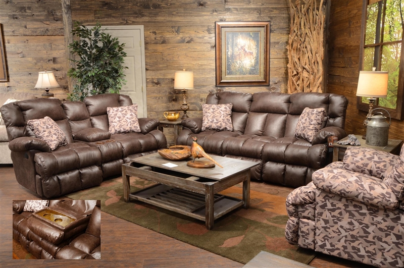 Duck Dynasty Cedar Creek 2 Piece Reclining Set In Sable Leather With Duck  Camo Fabric Pillows By Catnapper   132 S