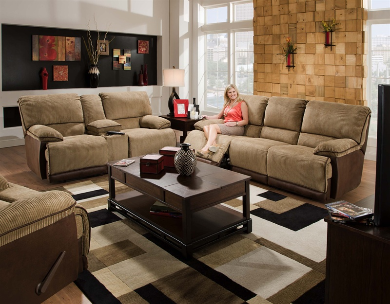 Clayton 2 Piece Reclining Sofa Loveseat Set In Two Toned Cover By Catner 134