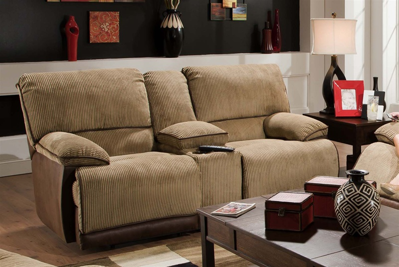 Clayton Reclining Console Loveseat In Two Toned Cover By
