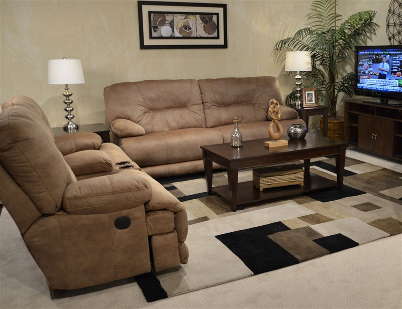 Noble Lay Flat Reclining Sofa In Almond Fabric By