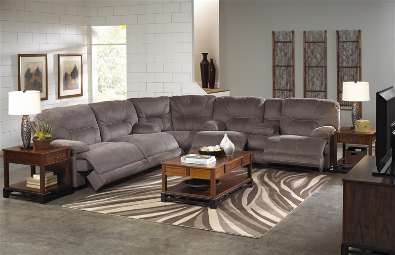 Noble 3 Piece Lay Flat Reclining Sectional In Slate Fabric
