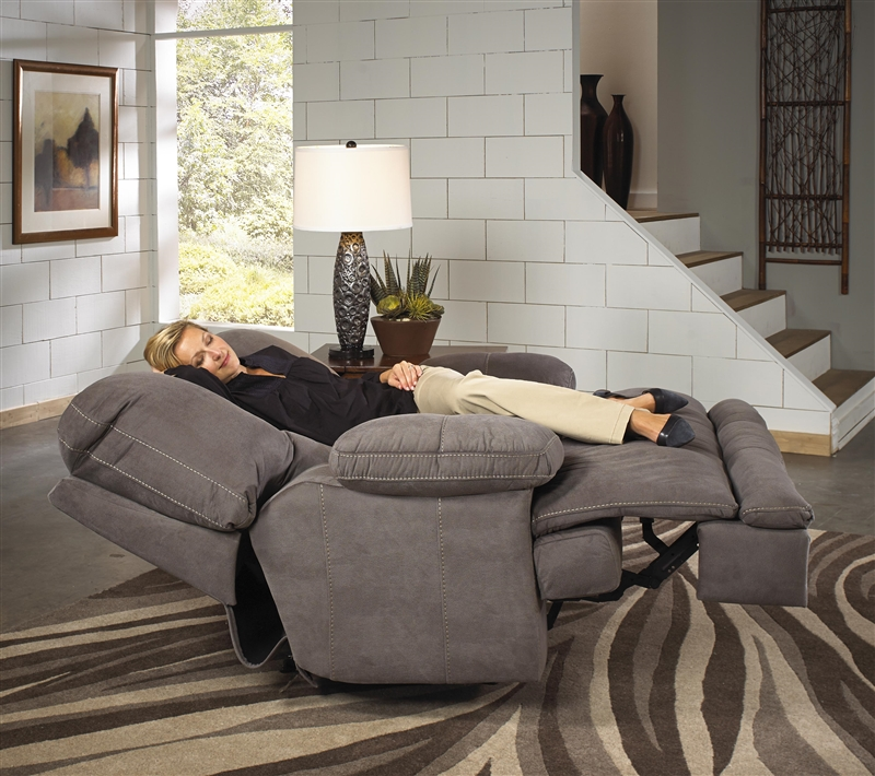 Noble Lay Flat Reclining Console Loveseat In Slate Fabric