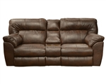 Larkin Lay Flat Reclining Console Loveseat in Chestnut, Godiva, or Putty Leather by Catnapper - 13999