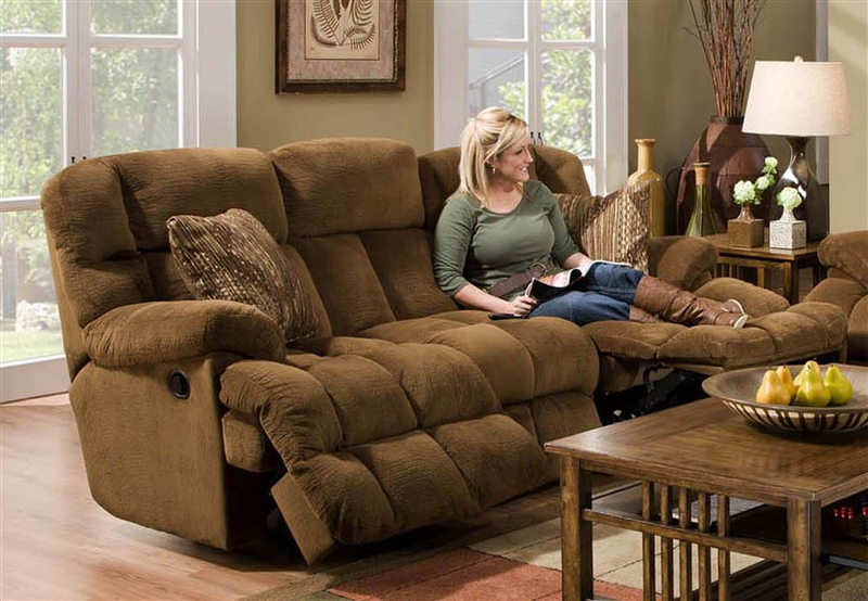 Concord Lay Flat Reclining Sofa In Pecan Color Fabric By Catner 1421