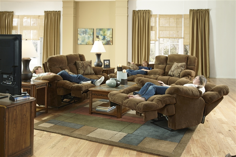 Concord Lay Flat Reclining Sofa In Pecan Color Fabric By
