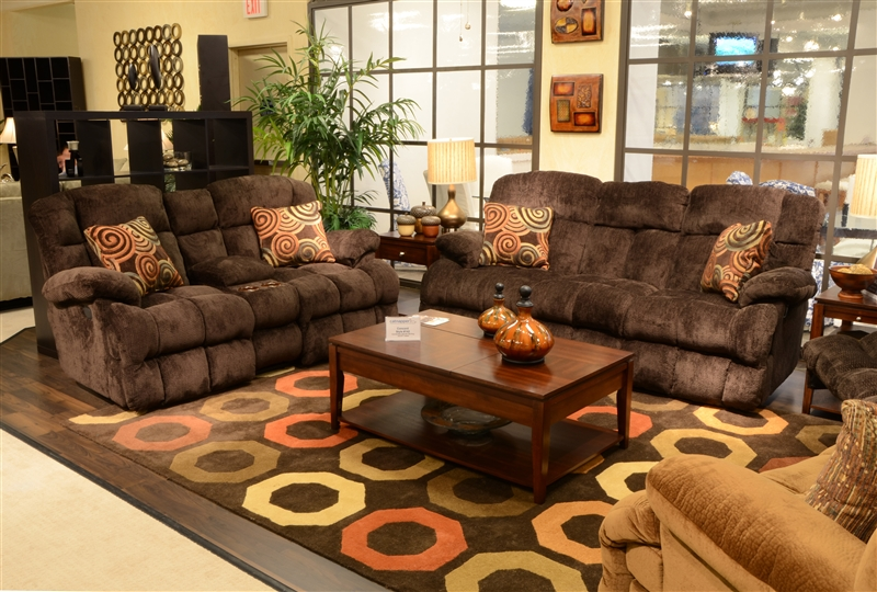 Concord 2 Piece Lay Flat Reclining Sofa Set In Mahogany Color Fabric By Catner 1421 S M
