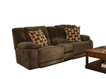 Hammond Reclining Console Loveseat in Mocha, Coffee, or Granite Fabric by Catnapper - 1449