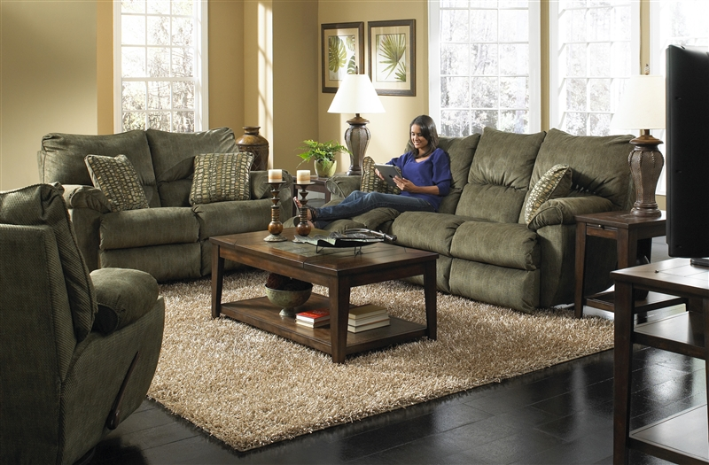 Gavin 2 Piece Reclining Sofa Set In Foliage Color Fabric By Catnapper