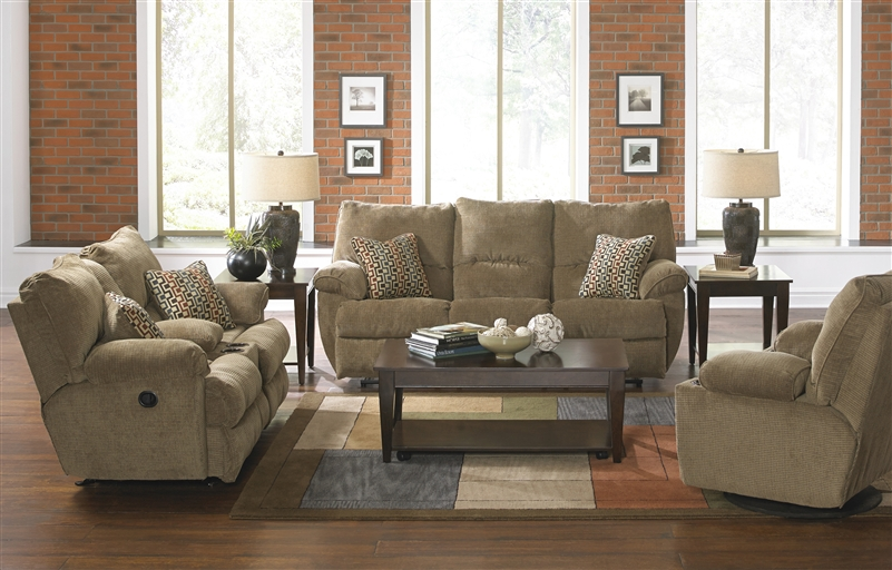 Gavin 2 Piece Reclining Sofa Set In Desert Color Fabric By Catner 1451 S D