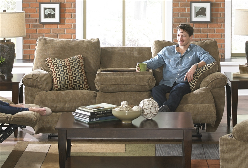Gavin Reclining Sofa With Drop Down Table In Desert Color Fabric