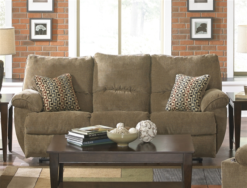Gavin Reclining Sofa With Drop Down Table In Desert Color Fabric By Catner 1455 D