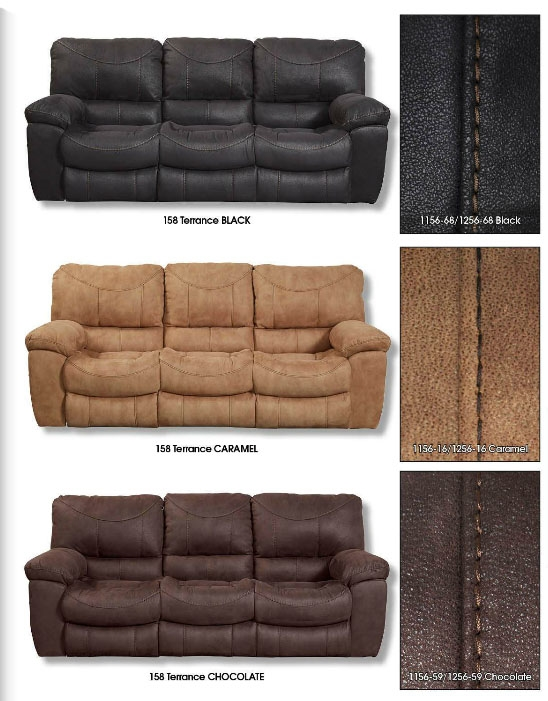 Terrance Reclining Sofa In Caramel Color Fabric By