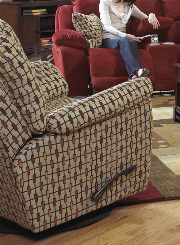 Bryson Swivel Glider Recliner In Rustic Pattern Fabric By