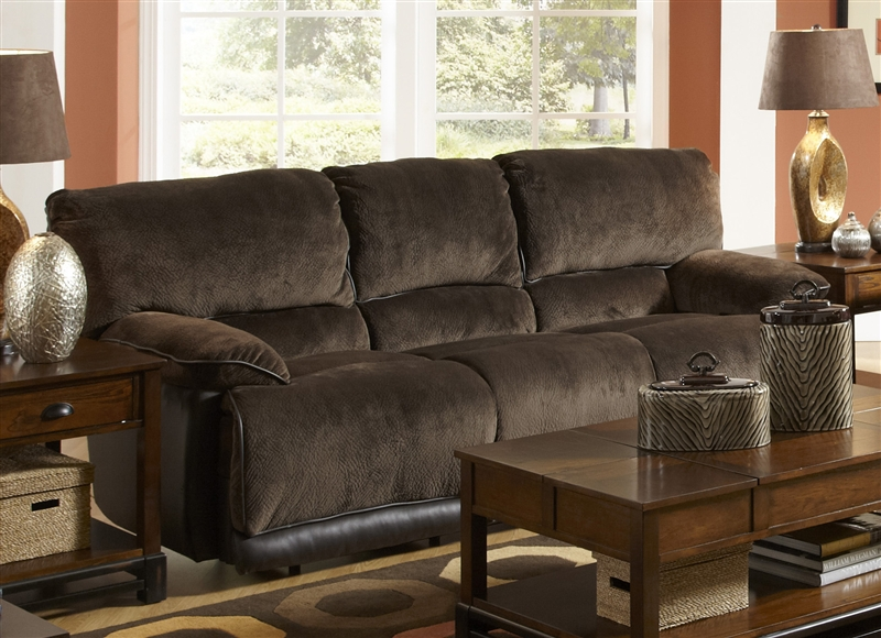 Escalade Reclining Sofa In Chocolate Walnut Two Tone Fabric By Catner 1711