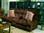 "Siesta Lay Flat Reclining Console Loveseat in ""Chocolate"" Color Fabric by Catnapper - 1769"