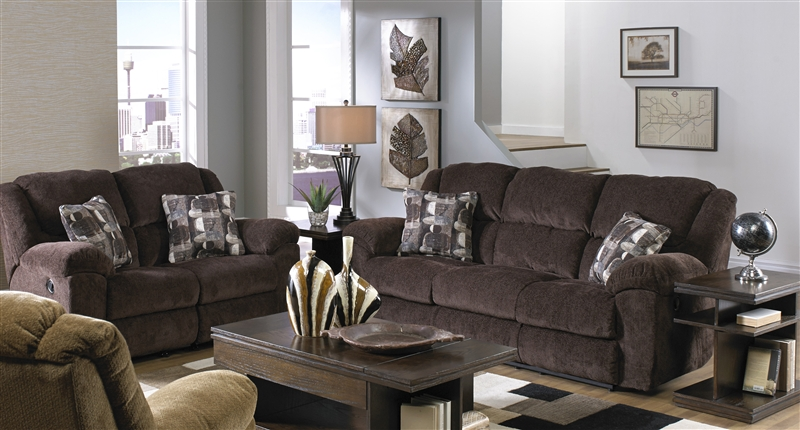 Reclining Sofa Set In Chocolate Fabric
