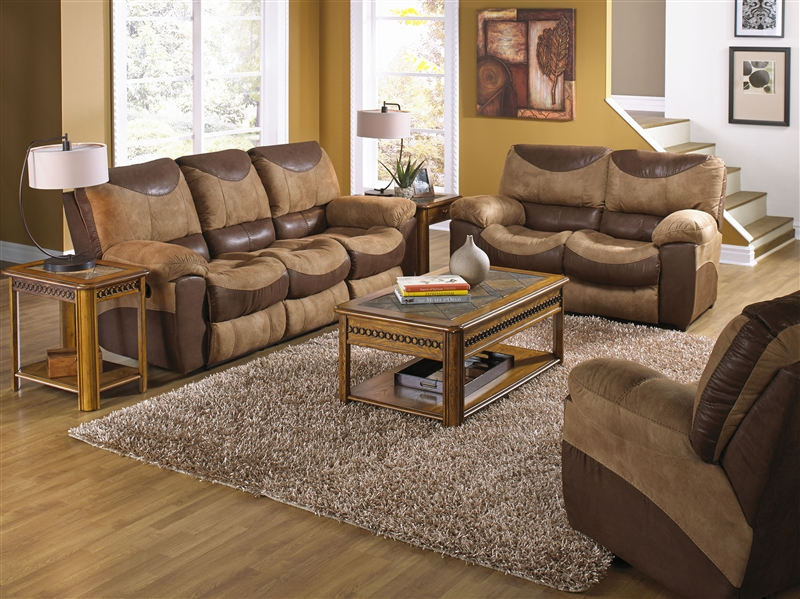 Portman 2 Piece Reclining Sofa Loveseat Set In Two Tone Chocolate And Saddle Fabric By