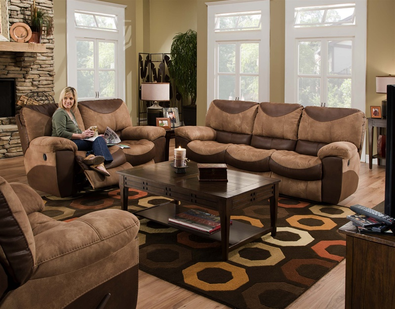 chocolate living room set. Portman 2 Piece Reclining Sofa  Loveseat Set in Two Tone Chocolate and Saddle Fabric by Catnapper 196