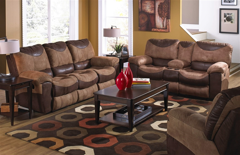 portman 2 piece reclining sofa reclining loveseat set in two tone chocolate and saddle fabric by catnapper