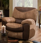 Portman Chaise Rocker Recliner in Two Tone Chocolate and Saddle Fabric by Catnapper - 1960-2