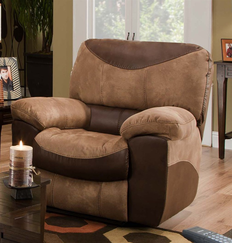 Portman Chaise Rocker Recliner in Two Tone Chocolate and Saddle