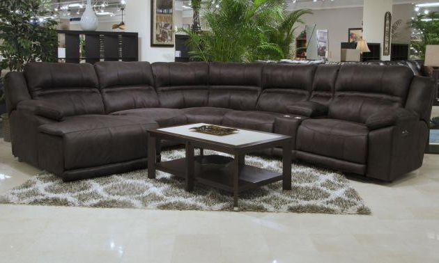 Braxton 5 Piece Lay Reclining Sectional In Dark Chocolate