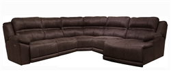 Braxton 5 Piece Lay Reclining Sectional in Dark Chocolate Fabric by Catnapper - 215-5-CH