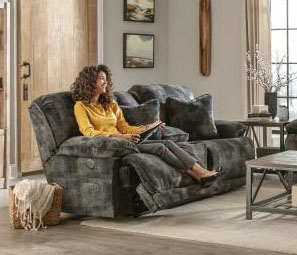 Bolt Reclining Console Loveseat in Pewter Fabric by Catnapper - 2289