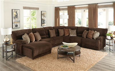 Burbank 6 Piece Reclining Sectional in Chocolate Fabric by Catnapper - 281-CH-06