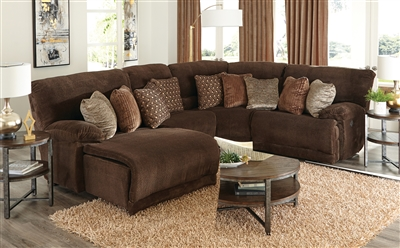 Burbank 4 Piece Reclining Sectional in Chocolate Fabric by Catnapper - 281-CH-4
