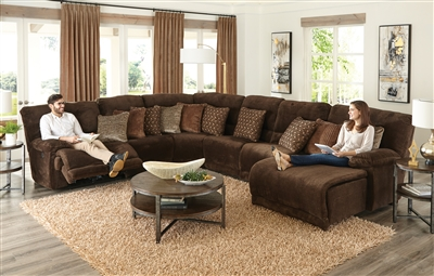 Burbank 6 Piece Reclining Sectional in Chocolate Fabric by Catnapper - 281-CH-6