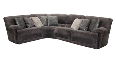 Burbank 4 Piece Power Reclining Sectional in Smoke Fabric by Catnapper - 281-S-4P