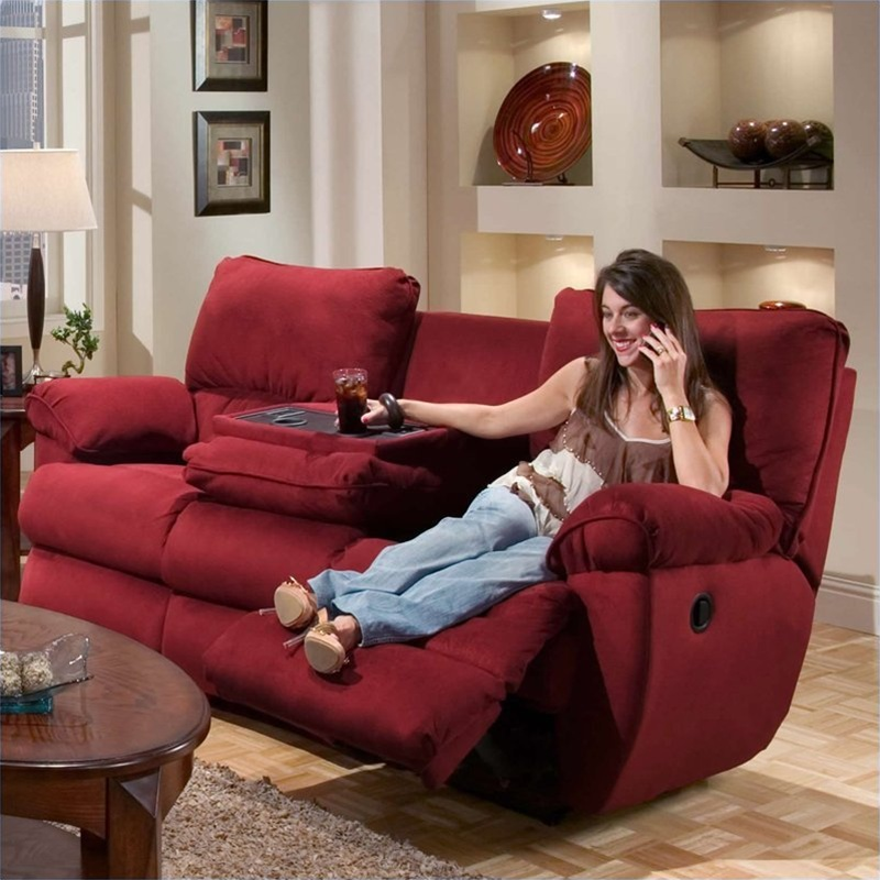 Legend Merlot Fabric Reclining Sofa By